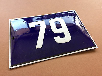 Vintage European French Enamel Sign House Number 79 Door Gate Sign Cobalt Blue