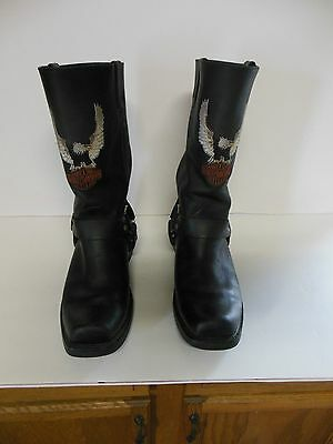 Mens Black Leather Harley Davidson Harness Cycle Biker Boots 9.5 M Good Used!!!