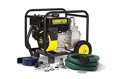 Champion Power 66520 2in Semi-Trash Water Transfer Pump w/ Hose and Wheel Kit