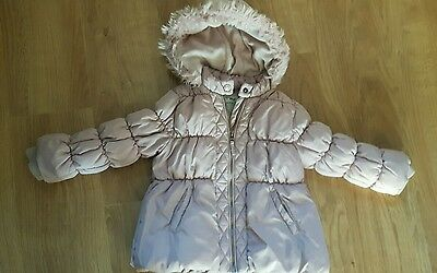 NEXT DUSKY PINK QUILTED FLEECE LINED COAT JACKET AGE 4-5 years