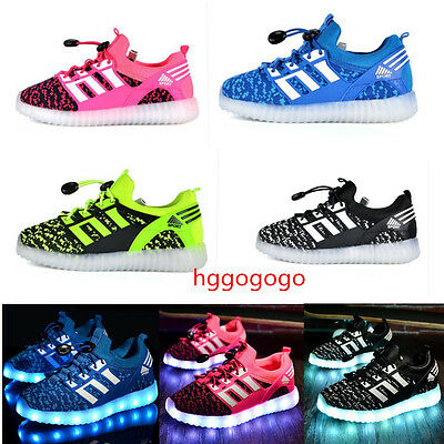 Led Kids Children Boys Girls Light Up Sneakers Baby Luminous Shoes Trainers Gift