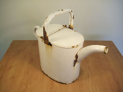 Vintage White Enamel Watering Can Shabby Chic FREE P&P