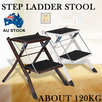 2 Step Stool Folding Ladder Anti Slip Safety Tread Home Kitchen up to 120KG