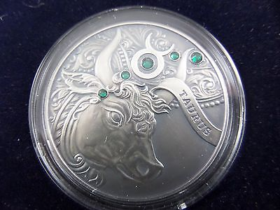 2014 Belarus Signs of the Zodiac 20 Rubles Taurus Sterling Silver Coin