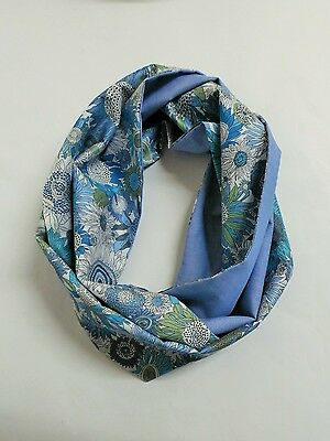 Infinity scarf. Liberty of London Susanna blue and fine blue chambray.