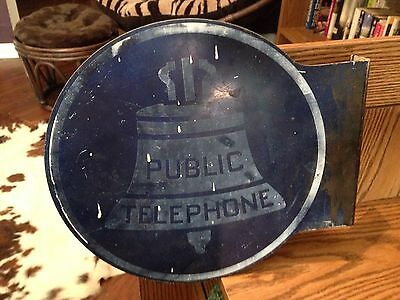 Antique Blue and White Public Telephone Sign – Flange Style