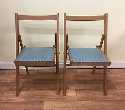2x Vintage Wooden Folding Chairs