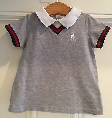 Gucci Boys Pale Grey Red Green Polo Shirt T Shirt Top 24 M 2 Yrs Immaculate