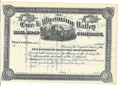 The Erie & Wyoming Valley Railroad Company....1800's Unissued Stock Certificate