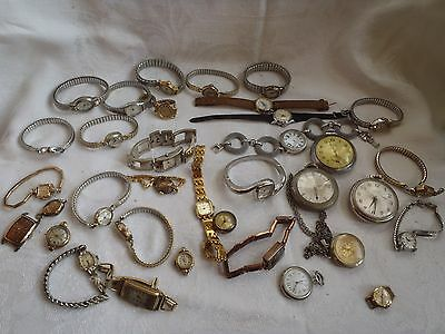 Estate Collection Of Vintage Wristwatches  Mixed Lot 33 Picies Some 10K R.g.p.