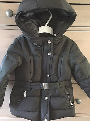 Zara Girls Black Puffa Coat With Waisted Belt Age 4