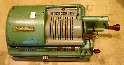 Vintage VERY RARE Antique TRIUMPHATOR Calculator Mechanical Real Machine