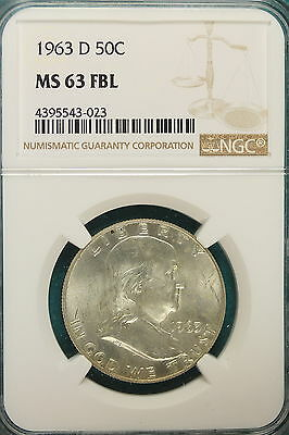 1962-D NGC MS 63 FULL BELL LINES  Franklin Half Dollar!! #A6765