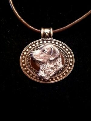 Chesapeake Bay Retriever Dog Brass Medallionon on cord~necklace~Chessie HEAD