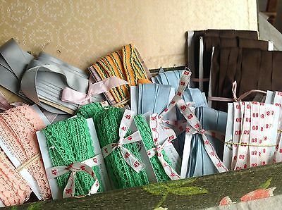 Vintage Tapes & Antique Fabric Box/100m Trim Laces Old Stock French Haberdashery
