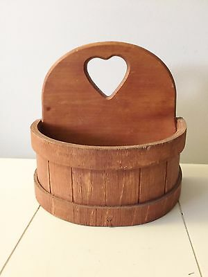 Wood Sugar Bucket Wall Pocket Table Top Home & Garden Planter Basket