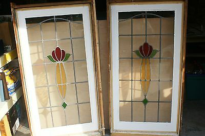 "2 Leaded Stained Glass Windows W- 27""  H-53''"