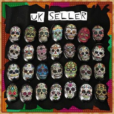 4 x Glass Mexican Day Of The Dead Sugar Skull Fridge Magnets