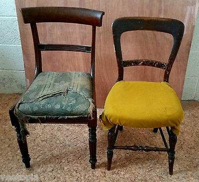 2 x antique chairs - excellent frames - reupholstery required - genuine vintage