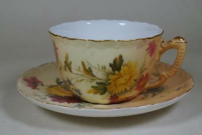 Royal Worcester Blush Ivory & Gold Hand Painted Tea Cup & Saucer c.1907