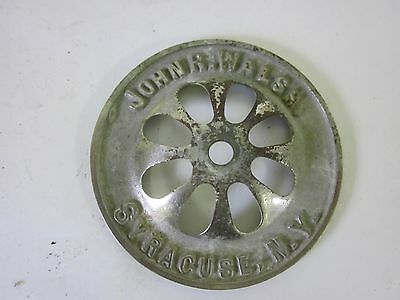 Antique Vintage solid brass John R Walsh Syracuse NY claw foot tub drain cover
