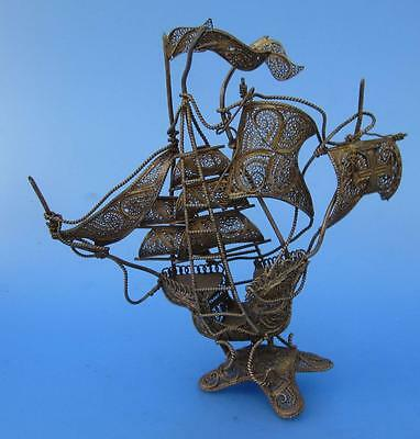 Filigree Sailing Ship Boat Spanish Galleon Model Vintage Metal