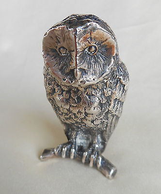 Vintage Owl Figure Made Out Of Heavy White Metal - Well Made - Tactile