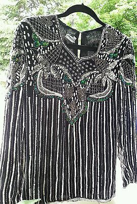 Vintage beaded/sequined dress top.... STUNNING...FREE SHIPPING NOW