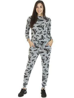Womens 2 Pcs Grey Butterfly Pattern Long Sleeve Elasticated Tracksuit 8 10 12 14