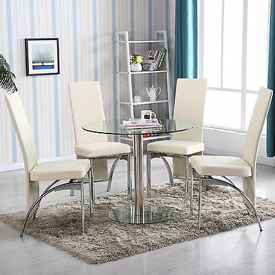 ROUND GLASS DINING Table Set 5 Piece 4 Chairs Kitchen Room Breakfast  Furniture