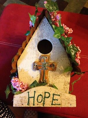 Hope Religious Bird House With Metal Roof In Excellent Condition