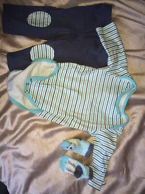 Vitamins Baby Boys Outfit 0-3 Months, White & Grey, Blue & Black - Worn Twice!