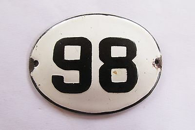 Old Vintage Antique Enamel Porcelain Sign House Number 98