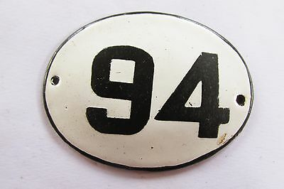 Old Vintage Antique Enamel Porcelain Sign House Number 94
