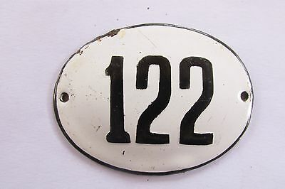 Old Vintage Antique Enamel Porcelain Sign House Number 122