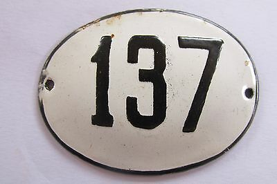 Old Vintage Antique Enamel Porcelain Sign House Number 137