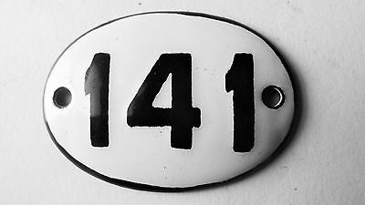 Old Vintage Antique Enamel Porcelain Sign House Number 141 M