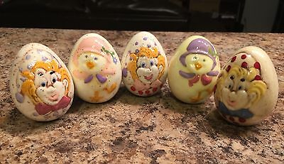 5 Ceramic Easter Eggs With Decorative Pictures Chicks Clowns Cute Vintage