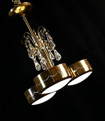 1950s RETRO GERALD THURSTON FOR ELECTROLIER ATOMIC PIERCED BRASS CHANDELIER
