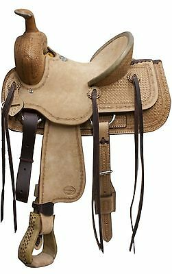 """13"""" LIGHT Blue River Roping Saddle Rough Out Leather & Basket weave Tooling!"""
