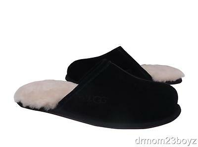 New NIB Men's Ugg Scuff Suede & Shearling Indoor Outdoor Slippers Black