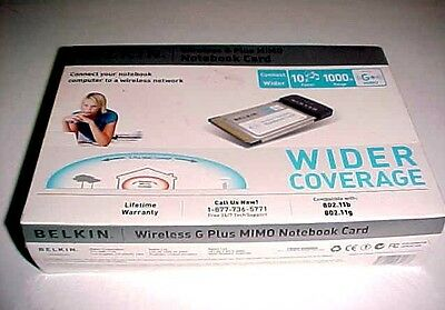 Belkin Wireless G Plus MIMO Notebook Card P57747-A No F5D9010 New
