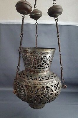 Antique Persian Tinned Copper Timurid Mosque Lamp Pierced Arabic Calligraphy