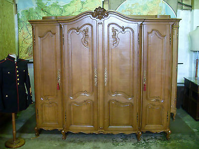 4 door carved French oak double breakfront wardrobe,armoire,Louis XV,flat packs