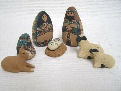 Mata Ortiz 8 Piece Handbuilt Christmas Nativity Pottery Set by Debi Flanigan