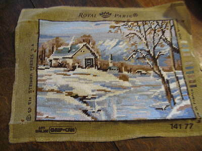 Completed Tapestry Unframed Picture  Winter Snow Scene hand stitched picture