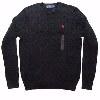 Polo Ralph Lauren Mens New Black Roving Cable Crew Neck Jumper Xs S M L Xl