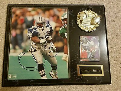 Emmitt Smith Signed Auto 8x10 with plaque Authentic Dallas Cowboys