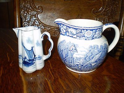 "2 Vintage  Pitchers Flow Blue & WR Midwinter England Pitcher 3.5"" & 3"" tall  GC"