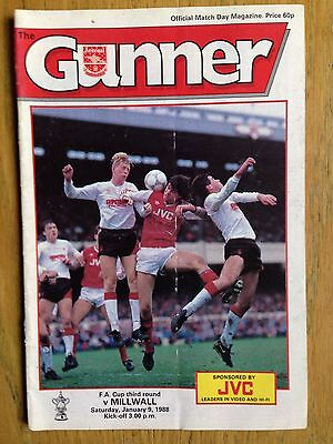 Arsenal v Millwall 1987/88 FA Cup programme
